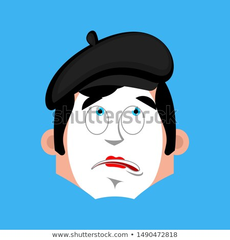 Mime bewildered emotion avatar. pantomime at a loss emoji. mimic Stock photo © popaukropa