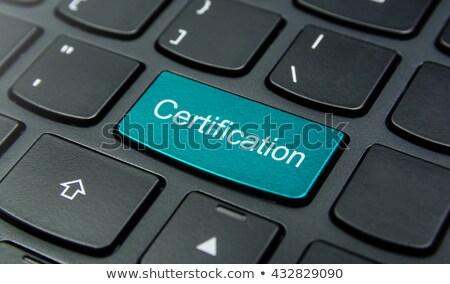 Blauw certificaat prestatie knop toetsenbord moderne Stockfoto © tashatuvango