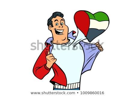 Vatansever erkek spor fan bayrak kalp Stok fotoğraf © rogistok