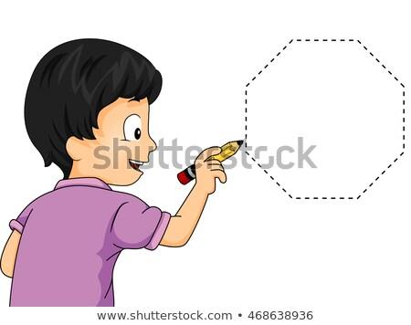 Gyerek fiú nyom illusztráció kicsi rajz Stock fotó © lenm