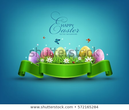 Happy Easter card with eggs and flowers, bright yellow background, floral paints, vector. Stock photo © ikopylov