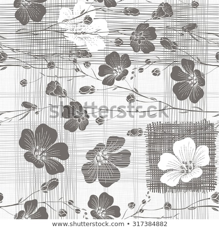 repetitive monochrome background with flowers and abstract shapes isolated on white stock photo © redkoala