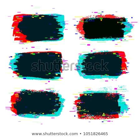 brush strokes banner with glitch rgb effect stock photo © sonya_illustrations