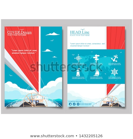 Stock photo: Worldwide sea traveling poster with sailboat