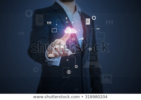 ビジネスマン 作業 バーチャル 雲 ホログラム ビジネスの方々 ストックフォト © dolgachov