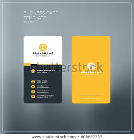 Business card template with yellow abstract logo Stock photo © studioworkstock