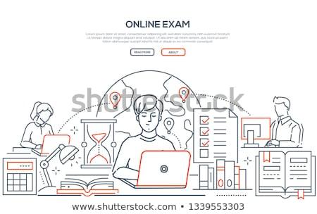 ラップトップコンピュータ 世界中 行 イラストレーター デザイン グラフィック ストックフォト © alexmillos