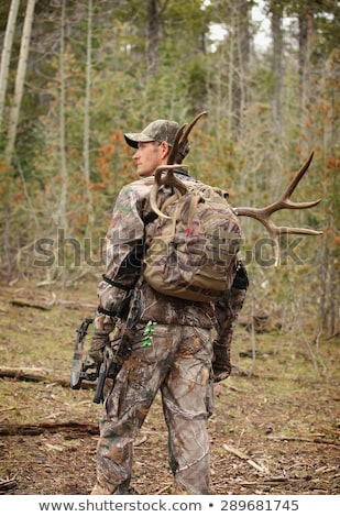 Deer standing behind a hunter Stock photo © IS2