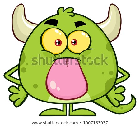 cute monster cartoon emoji character sticking its tongue out stock photo © hittoon