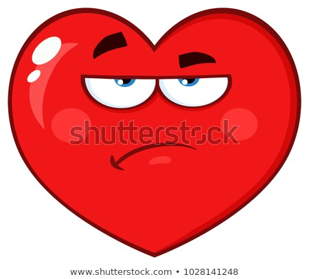 Annoyed Red Heart Cartoon Emoji Face Character With Grumpy Expression Stock photo © hittoon