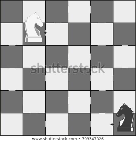 Tabuleiro de xadrez cavalos peças labirinto jogo crianças Foto stock © Natali_Brill