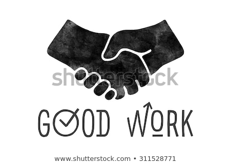 Navigation signs. Black hands silhouettes doing handshake. Vector illustration. Stock photo © FoxysGraphic