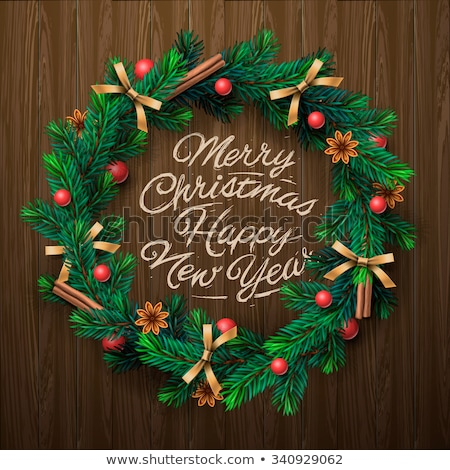 door christmas decor pine tree wreath with bells and balls vector illustration stock photo © yopixart