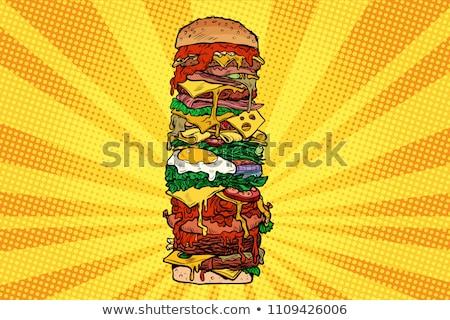 Huge Burger tower. Street fast food Stock photo © studiostoks