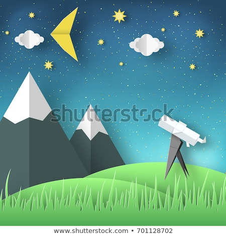 a kid looking at the moon with telescope stock photo © bluering