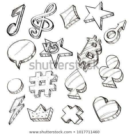 hashtag hand drawn outline doodle icon stock photo © rastudio