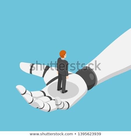 human and robot cooperation flat isometric vector stock photo © tarikvision