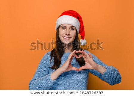 Feliz jóvenes mujer bonita esperanzado gesto Foto stock © deandrobot