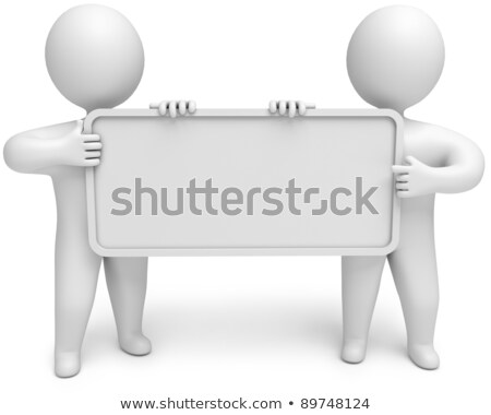3d small people   two keep an empty board stock photo © anatolym
