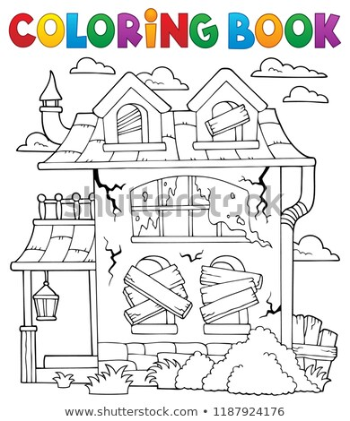 Libro para colorear abandonado casa pintura arte lámpara Foto stock © clairev