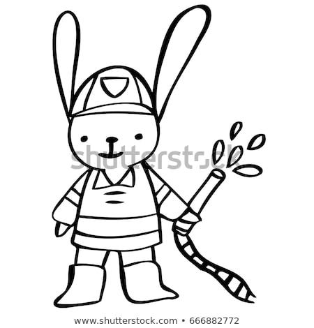 cartoon smiling firefighter bunny stock photo © cthoman