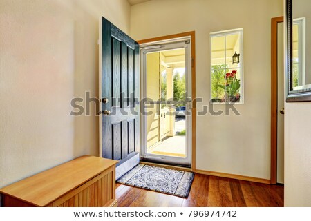 Front door entrance to modern house with hardwood floors Stock photo © iriana88w