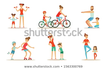 Sports Family, Parents And Children Doing Sports Outdoor Vector. Isolated Illustration Stock photo © pikepicture