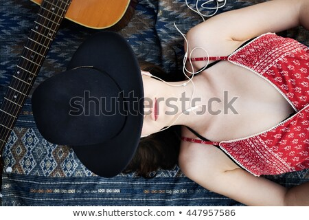 Portrait of a calm woman taking a sunbath on a summer beach Stock photo © majdansky