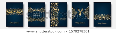 Weihnachten Urlaub golden Rentiere Grußkarte heiter Stock foto © cienpies