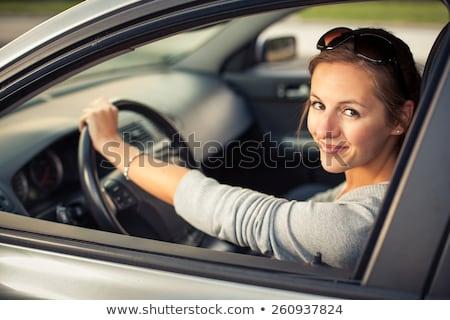Stock fotó: Csinos · fiatal · nő · vezetés · autó · éjszaka · modern