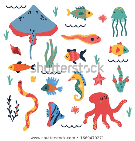 octopus and eel posters set vector illustration stock photo © robuart