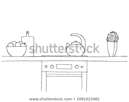 Sketch of the kitchen. Worktop, stove, kettle and other items. Stock photo © Arkadivna