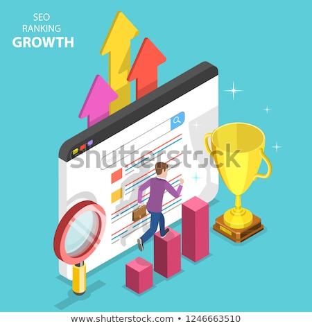 Flat isometric vector concept of seo ranking growth, web analytics. Stock photo © TarikVision