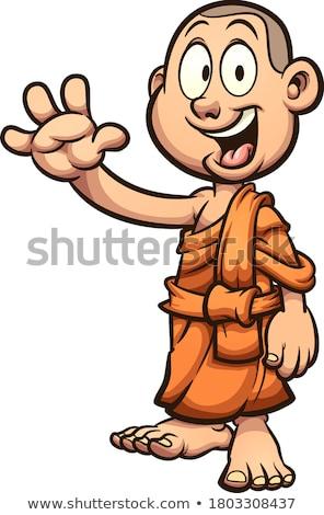 Rajz szerzetes integet illusztráció boldog hullám Stock fotó © cthoman