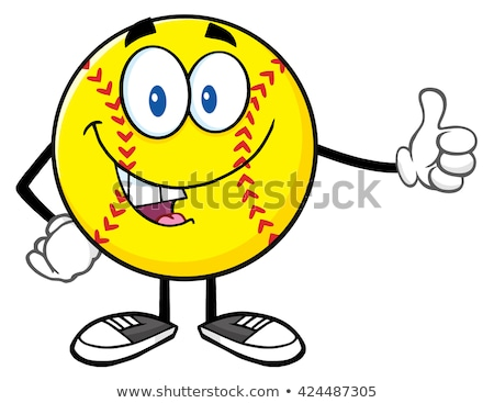 Smiling Softball Cartoon Mascot Character Giving A Thumb Up Stock photo © hittoon
