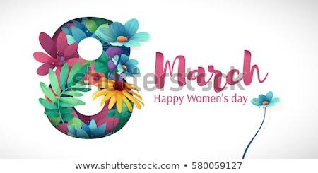 Boldog nőnap szórólap gratuláció kártya virágok Stock fotó © MarySan