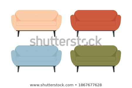 Modern red soft armchair with upholstery - interior design element isolated on white background. Stock photo © MarySan