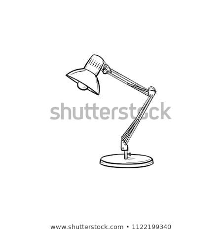 Sketch desk lamp. Table lamp isolated on white background. Vector Stock photo © Arkadivna