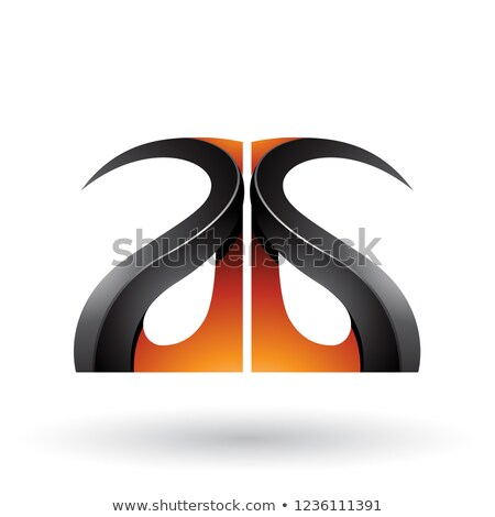 Orange and Black Glossy Curvy Embossed Letter A Vector Illustrat Stock photo © cidepix