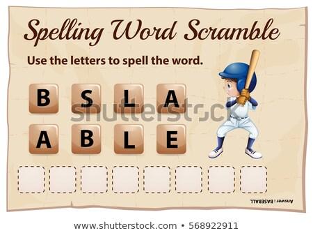 yazım · kelime · oyun · kız · okul · arka · plan - stok fotoğraf © colematt