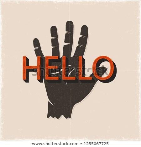 Olá sinal da mão silhueta estilo retro Foto stock © JeksonGraphics