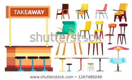 cafe furniture set vector takeaway interior design furniture element table chair sidewalk bistr stock photo © pikepicture