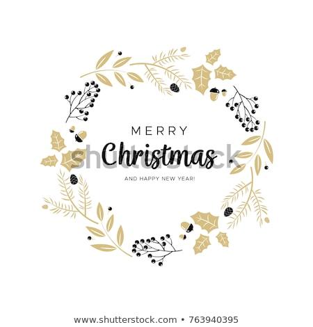 Foto stock: Natal · coroa · visco · feliz · cartão
