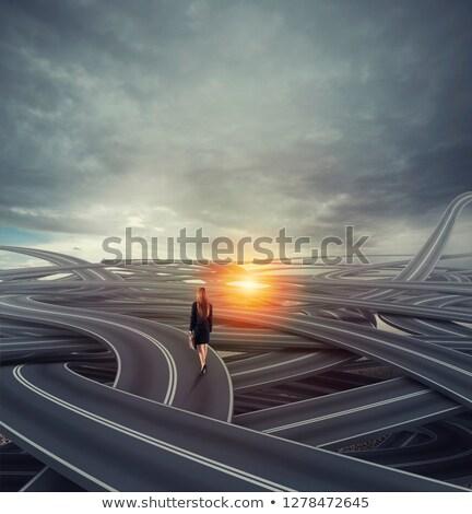 путать улице деловая женщина долго трудный карьеру Сток-фото © alphaspirit