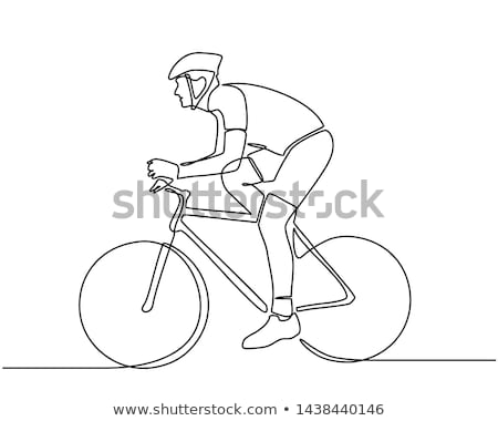 man rides a bicycle ride, vector line drawing illustration Stock photo © Vicasso