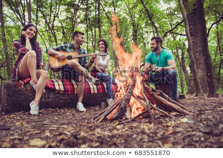 friends playing guitar and chilling on blanket Stock photo © dolgachov