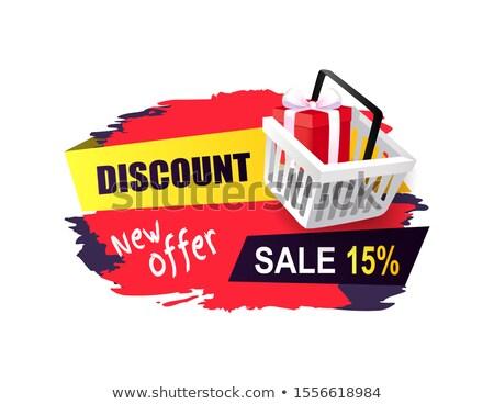 Discount New Offer Sale 15 Percent, Sticker Cart Stock photo © robuart