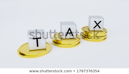 stacks of coins on a white background with inscription taxes Stock photo © mizar_21984