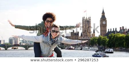 Fiú lány Egyesült Királyság illusztráció gyermek diák Stock fotó © colematt