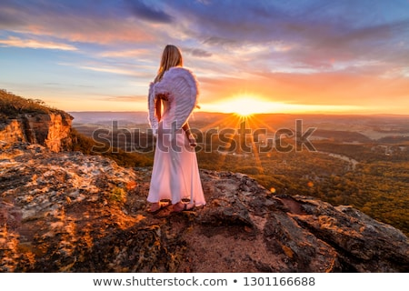Angelic woman with angel wings and white dress on mountain cliffs sunset Stock photo © lovleah